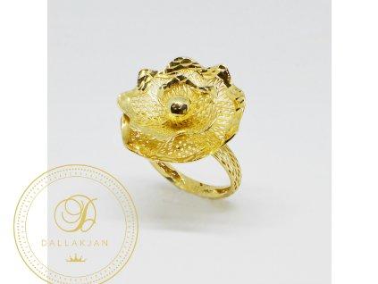 1508 prsten ze zluteho zlata ve tvaru kvetiny