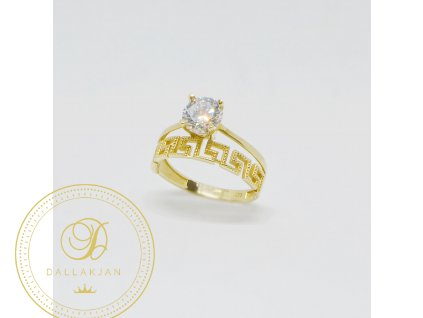 1517 prsten ze zluteho zlata s antickym vzorem a zirkonem