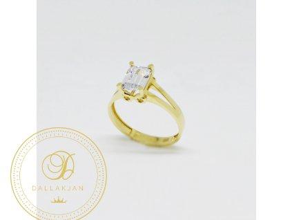 1523 prsten ze zluteho zlata s hranatym zirkonem