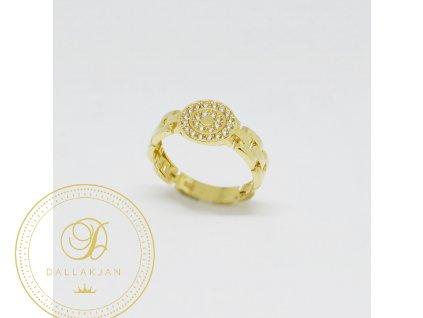 1526 prsten ze zluteho zlata se zirkony s originalni obrouckou