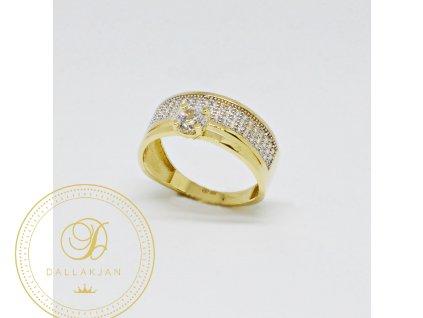 1538 prsten ze zluteho zlata se zirkony decentni