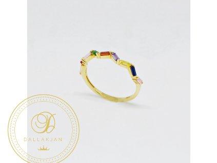 1550 prsten ze zluteho zlata s barevnymi zirkony