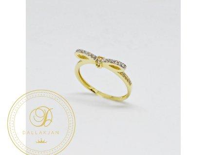Prsten ze žlutého zlata mašle se zirkony (Velikost 58, Váha v g 2,08)