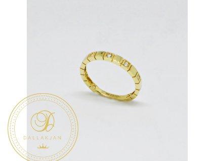 Prsten ze žlutého zlata moderní se zirkony (Velikost 58, Váha v g 1,95)