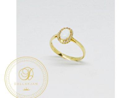 Prsten ze žlutého zlata s opálem a zirkony (Velikost 58)
