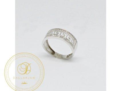 Prsten z bílého zlata s antickými vzory se zirkony (Velikost 54)