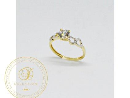 Prsten z kombinovaného zlata se zirkonem a srdíčky (Velikost 58)