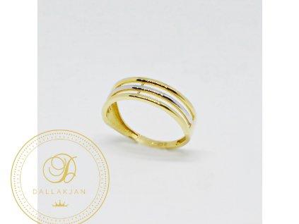 Prsten z kombinovaného zlata mřížka (Velikost 59)