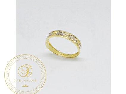 Prsten z kombinovaného zlata s opakujícím se vzorem se zirkony (Velikost 58, Váha v g 1,50)