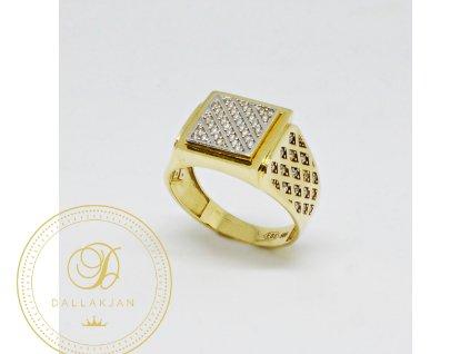 Prsten ze žlutého zlata mřížka se zirkony (Velikost 63)