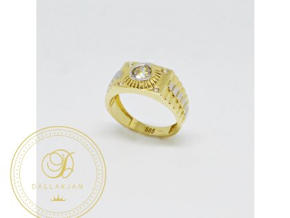 Prsten z kombinovaného zlata se zirkony (Velikost 54)