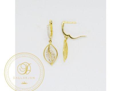 1772 nausnice ze zluteho zlata listek se zirkony