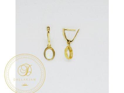 1778 nausnice ze zluteho zlata s opalem