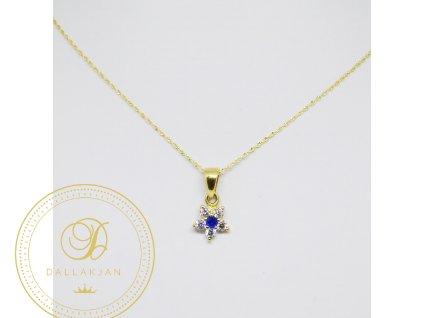 1880 retizek ankr zlute zlato privesek hvezda safir a zirkon