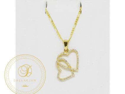 Řetízek Figaro, žluté zlato, přívěsek dvojité srdce, zirkon (Délka 45 cm, Ryzost 585/1000)