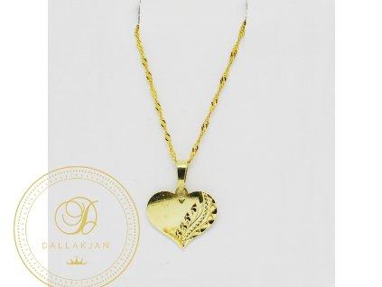 Řetízek Valis, žluté zlato, přívěsek velké srdce (Délka 55 cm, Ryzost 585/1000)