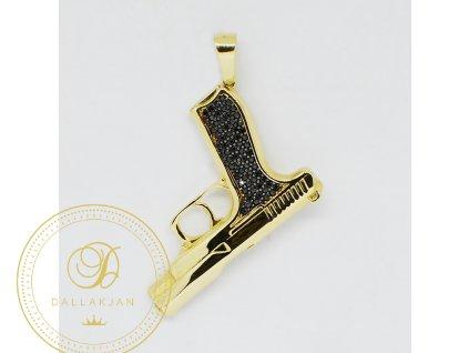Přívěsek, žluté zlato, pistole (Váha v g 3,30)