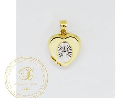 1967 privesek kombinovane zlato rozeviraci srdce s madonkou