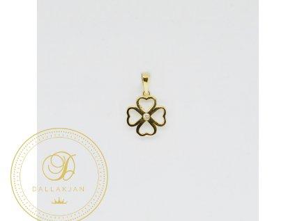 1988 privesek zlute zlato ctyrlistek zirkon