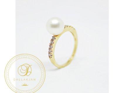 Prsten, žluté zlato, zirkony a perla (Ryzost 585/1000, Velikost 54)