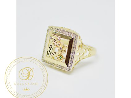 Prsten, žluté zlato, zirkon, smaragd, ametyst (Ryzost 585/1000, Velikost 60)
