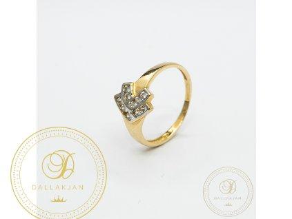 Dámský zlatý prsten ze žlutého zlata se zirkonem (Velikost 54)