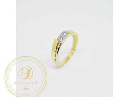 Prsten, kombinované zlato, zirkony (Ryzost 585/1000, Velikost 53)