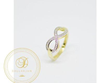 Prsten, žluté zlato, zirkony, nekonečno (Ryzost 585/1000, Velikost 56)