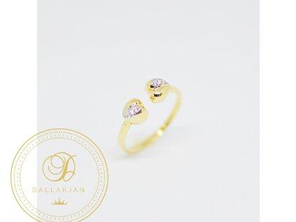 Prsten, žluté zlato, zirkony (Ryzost 585/1000, Velikost 57)