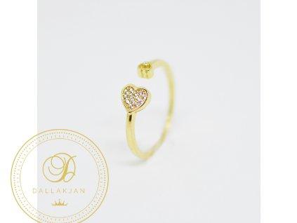 Prsten, žluté zlato, zirkony (Ryzost 585/1000, Velikost 58)