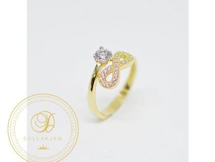 Prsten, žluté zlato, zirkony, nekonečno (Ryzost 585/1000, Velikost 55)