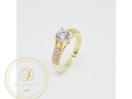 Prsten, žluté zlato, zirkony (Ryzost 585/1000, Velikost 56)