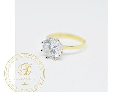Prsten, kombinované zlato, zirkon (Ryzost 585/1000, Velikost 58)