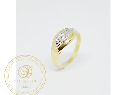 Prsten, kombinované zlato, zirkony (Ryzost 585/1000, Velikost 57)