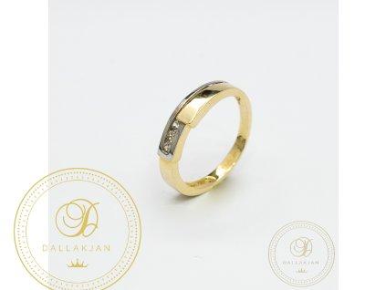 Dámský zlatý prsten kombinovaný s bílým zlatem zdobený zirkonem (Velikost 53)