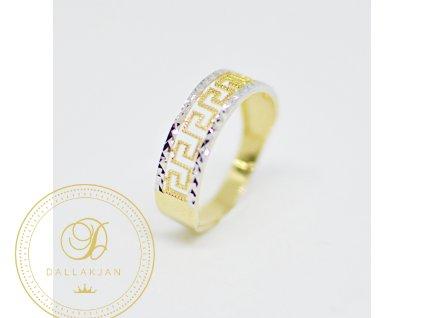 Prsten, kombinované zlato, zirkony (Ryzost 585/1000, Velikost 65)