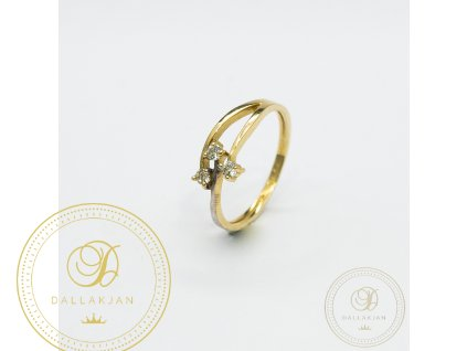 Dámský zlatý prsten kombinovaný s bílým zlatem zdobený zirkonem (Velikost 54)