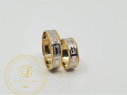 Krásné snubní prsteny v kombinaci žlutého a bílého zlata (Velikost 65 56)
