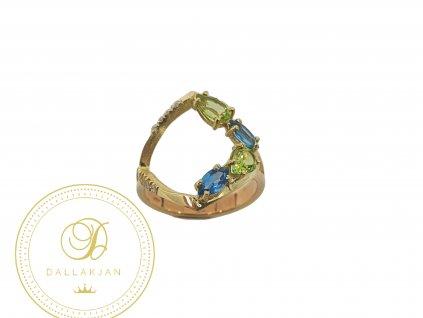 Prsten, žluté zlato, smaragd, akvamarín, zirkony