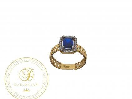 Prsten, žluté zlato, topaz, zirkony