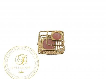 Prsten, žluté zlato, růženín