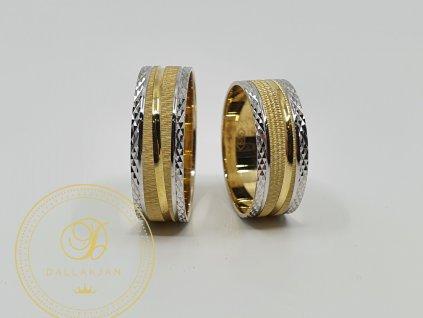 Kombinovaný snubní prsteny se žlutým a bílým zlatem (Velikost 66 59)