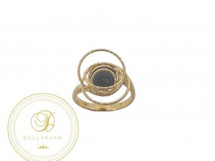 Prsten, žluté zlato, onyx