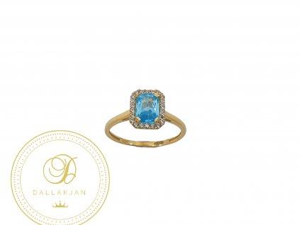 Prsten, žluté zlato, akvamarín, zirkony