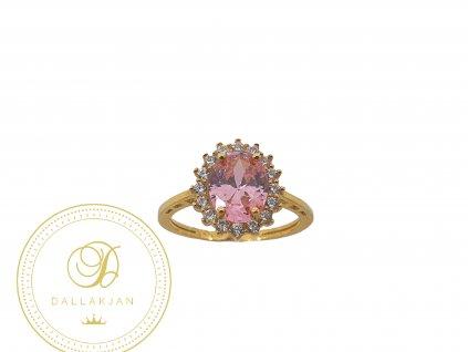 Prsten, žluté zlato, růženín, zirkony