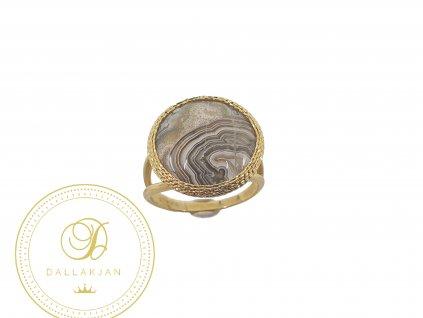 Prsten, žluté zlato, achát