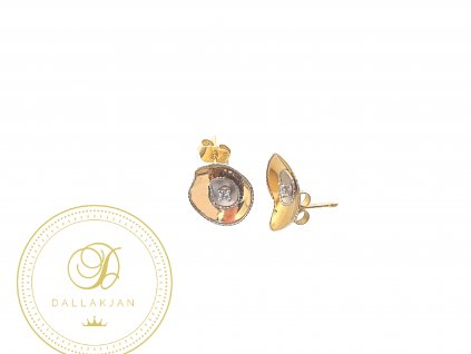 Náušnice, kombinované zlato, zirkon
