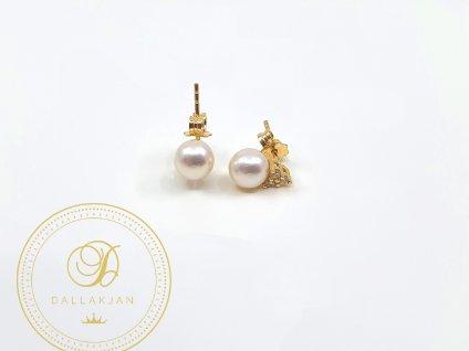 Náušnice, žluté zlato, perla, zirkony