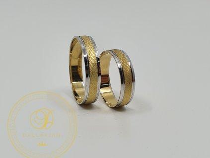 Snubní prsteny kombinovaný s bílým a žlutým zlatem (Velikost 68 56)