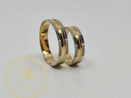 Moderní snubní prsteny kombinované žlutým a bílým zlatem (Velikost 69 57)